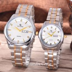 Diskon Saint Costie Original Brand Jam Tangan Pria Dan Wanita Body Silver Gold White Dial Stainless Steel Band Sc Rt 8030 Gl T H Sgw Komb Couple