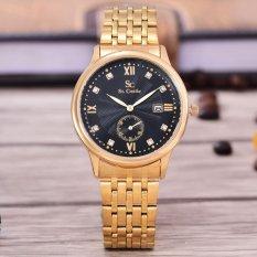 Beli Saint Costie Original Brand Jam Tangan Wanita Body Gold Black Dial Stainless Stell Band Sc Rt 8009L Gb Murah
