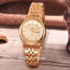 Jual Saint Costie Original Brand Jam Tangan Wanita Body Gold Gold Dial Stainless Stell Band Sc Rt 8023B L T H Gg Gold Antik