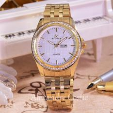 Saint Costie Original Brand - Jam Tangan Wanita-Body Gold-White Dial - SC-5760A-GW-TH-Gold-Stainless Steel Band