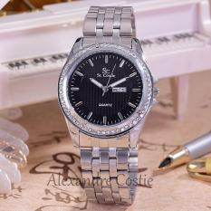 Jual Saint Costie Original Brand Jam Tangan Wanita Body Silver Black Dial Sc 5760E Sb Th Pnp Stainless Steel Band Lengkap