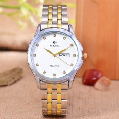 Saint Costie Original Brand - Jam Tangan  Wanita - Body Silver Gold - White Dial - Stainless steel band - SC-RT-8001L-T/H-SGW