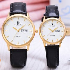 Saint Costie - Sepasang Jam Tangan Pria&Wanita - Body Gold - White dial - Black Leather Band - SC-JK-G-8009GL-GW - Couple