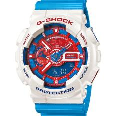 SALE - CASIO G-SHOCK GA-110AC-7 - PROTECTION - Analog-Digital - Multifunction - Jam Tangan Pria - Bahan Tali Resin - Biru - Aksen Putih/Merah