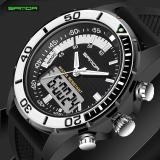 Perbandingan Harga Sanda Men Brand Sport Diving Led Display Wristwatch Fashion Casual Rubber Strap Watch Men Black Band Black Black Intl Sanda Di Tiongkok