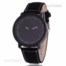 Santorini Jam Tangan Pria Wanita Minimalist Fashion Analog Quartz Men Lady Kulit PU Watch - Black