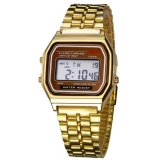 Spesifikasi Santorini Jam Tangan Unisex Digital Led Sport Men Women Stopwatch Stainless Steel Quartz Wrist Watch Gold Yang Bagus Dan Murah