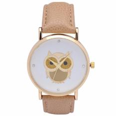Santorini Jam Tangan Wanita Owl Fashion Casual Analog Leather Women Lady Watch - Beige