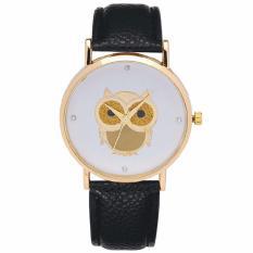 Santorini Jam Tangan Wanita Owl Fashion Casual Analog Leather Women Lady Watch - Black