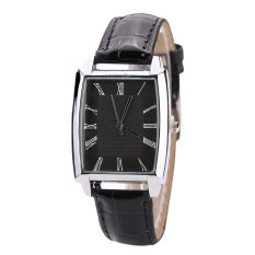 Harga Sanwood® Unisex Square Case Faux Leather Band Quartz Business Casual Watch Hitam Baru