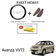 Sarung / Cover Stir / Setir / Steer Mobil Avanza VVTI Warna Hitam Cream + Talang Air Spion Hitam