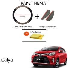 Sarung / Cover Stir / Setir / Steer Mobil Calya Warna Hitam Cream + Talang Air