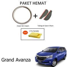 Sarung / Cover Stir / Setir / Steer Mobil Grand Avanza Warna Cream + Talang Air Spion Hitam