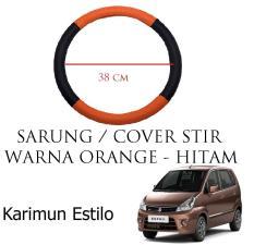 Sarung / Cover Stir / Setir / Steer Mobil Karimun Estilo Warna Hitam Orange