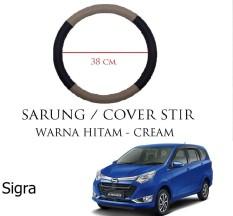 Sarung / Cover Stir / Setir / Steer Mobil Sigra Warna Hitam Cream
