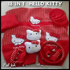 Sarung Jok 18in1 / Car Set / Bantal Mobil Hello Kitty Merah/Putih Jazz, Yaris, March, Avanza, Xenia, Ertiga, dll (Head-rest Tidak Menyatu) (2 Baris)