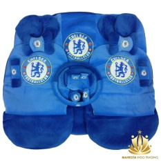Sarung Jok 24in1 / Car Set / Bantal Mobil Chelsea FC Avanza, Xenia, Innova, Rush, Terios, March, dll (Head-rest Tidak Menyatu) (3 Baris)