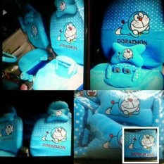 Sarung Jok 18in1 / Car Set / Bantal Mobil Doraemon Agya, Ayla, Brio, dll (Head-rest Menyatu) (2 Baris)