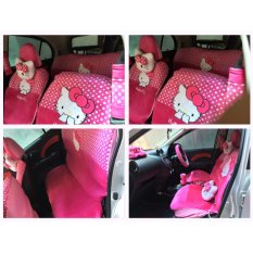 Sarung Jok 18in1 / Car Set / Bantal Mobil Hello Kitty Pink Jazz, Yaris, March, Avanza, Xenia, Ertiga, dll (Head-rest Tidak Menyatu) (2 Baris)