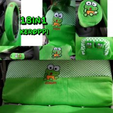 Sarung Jok 18in1 / Car Set / Bantal Mobil Keroppi Keropi Agya, Ayla, Brio, dll (Head-rest Menyatu) (2 Baris)