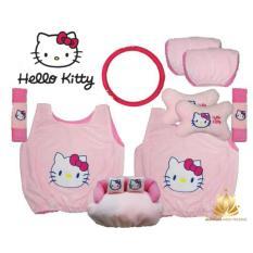Sarung Jok Mobil Universal 6 in 1 / Bantal Mobil / Car Set Mobil Hello Kitty Pink HK 6in1