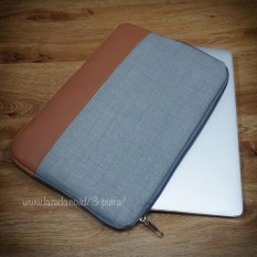 Sarung Laptop Sleeve Case Tas Laptop Softcase Laptop untuk Macbook Air Macbook Pro Laptop Notebook Netbook ( 3P Kanvas Sleeve case Laptop ) - Layar 13.3 inci ( Grey )
