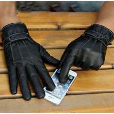 Sarung Tangan Kulit Touring Asli,Sarung Tangan Motor,sarung tangan pria - Hitam
