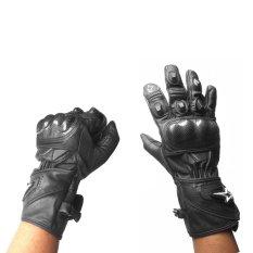 Sarung Tangan Kulit Panjang FULL Motif Alpinesstar + Batok - Hitam
