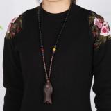 Harga Sastra Perempuan Bahan Kayu Retro Rantai Sweater Kalung Fullset Murah