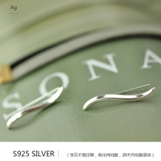 Sederhana Anti Alergi Ombak Willow Hook Anting-Anting Sterling Silver Anting