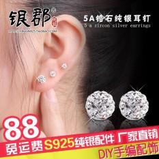 Review Toko Sederhana Pemasangan Kecil Zirkon Elegan Anting 925 Sterling Silver Online