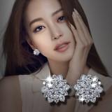 Sederhana Perempuan Elegan Bunga Anting Besar Sterling Silver Anting Tiongkok