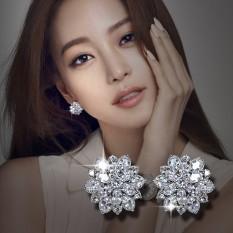 Jual Sederhana Perempuan Elegan Bunga Anting Besar Sterling Silver Anting Branded Murah