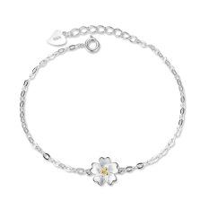 Versi Jepang dan Korea berlapis perak minimalis Bening Sakura bunga gelang perempuan tulang selangka O Huruf