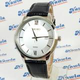 Seiko Quartz Sur201P1 Black Leather Jam Tangan Pria Sur201 Asli