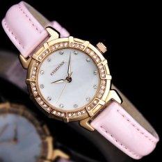 Sengshen Grosir Aili Juta Semua Orang Atas Nama Korea Fineladies Jam Diamond Shell QUARTZ Watch (Pink) -Intl