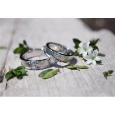 sepasang cincin cincin emas putih 18k AuPd