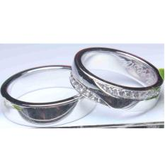 Sepasang cincin emas putih 18k AuAg