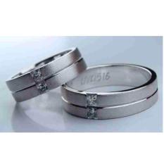 Sepasang cincin emas putih 18k AuPd