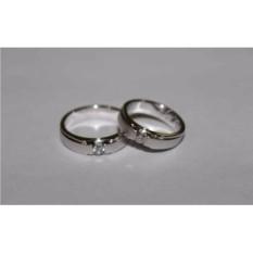sepasang cincin emas putih 9k AuAg