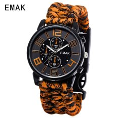 SH EMAK 3475 Multifunctional Quartz Watch Compass Luminous NylonBand Outdoor Sports Wristwatch Orange Orange(Not Specified)(OVERSEAS) - intl