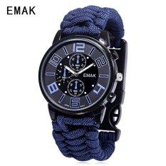 SH EMAK 3475 Multifunctional Quartz Watch Compass Luminous NylonBand Outdoor Sports Wristwatch Purplish blue Purplish blue(Not Specified)(OVERSEAS) - intl