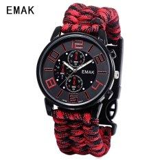 SH EMAK 3475 Multifungsi QUARTZ Watch Kompas Berkilau NylonBand Outdoor Olahraga Jam Tangan Merah Merah (Tidak Ditentukan) (LUAR NEGERI)-Intl