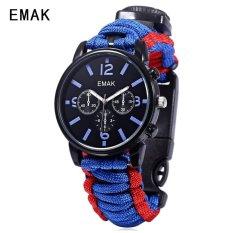 SH EMAK 684 Multifungsi QUARTZ Watch Kompas Thermometer NylonBand Outdoor Olahraga Jam Tangan Biru Biru (Tidak Ditentukan) (LUAR NEGERI)-Intl