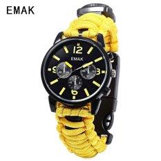 SH EMAK 684 Multifungsi QUARTZ Watch Kompas Thermometer NylonBand Outdoor Olahraga Wrist Watch Kuning Kuning (Tidak Ditentukan) (LUAR NEGERI)-Intl
