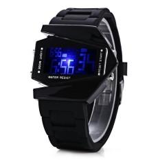 SH Unik LED Olahraga Watch dengan Tampilan Digital Pesawat Bentuk DialandRubber Band Black (Tidak Ditentukan) (LUAR NEGERI) -Intl
