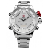 Toko Shark Mens Silver White Date Day Led Analog Stainless Steel Quartz Wrist Watch Sh104 Shark Sport Watch Tiongkok
