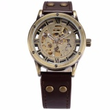 Harga Shenhua Vintage Perunggu Roman Automatic Mechanical Men S Skeleton Brown Leather Strap Wrist Watch Pmw362 Jam Tangan Pria Kulit Intl Baru Murah