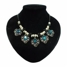 Shine Accessories - KW0968 - Kalung Bunga Kristal (Blue Tequila)