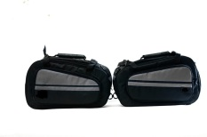Side Bag Oval / Sidebag motor / tas samping motor - Hitam list Abu